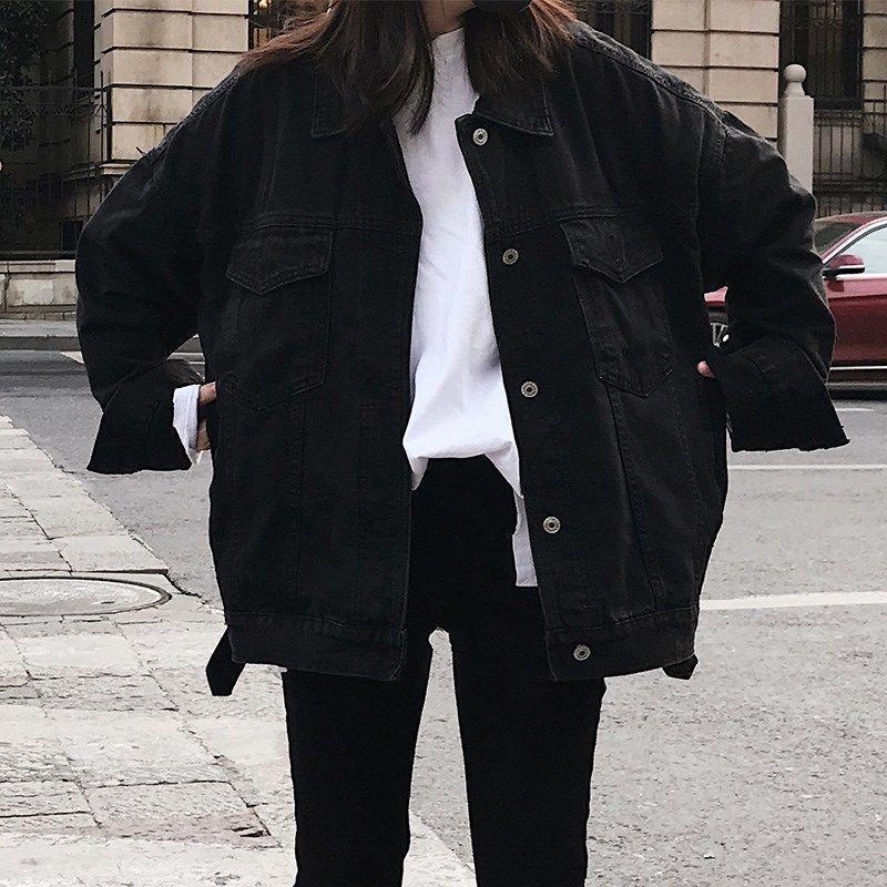 Черная джинсовая куртка женская свободная весна и осень корейский студент джинсовая куртка