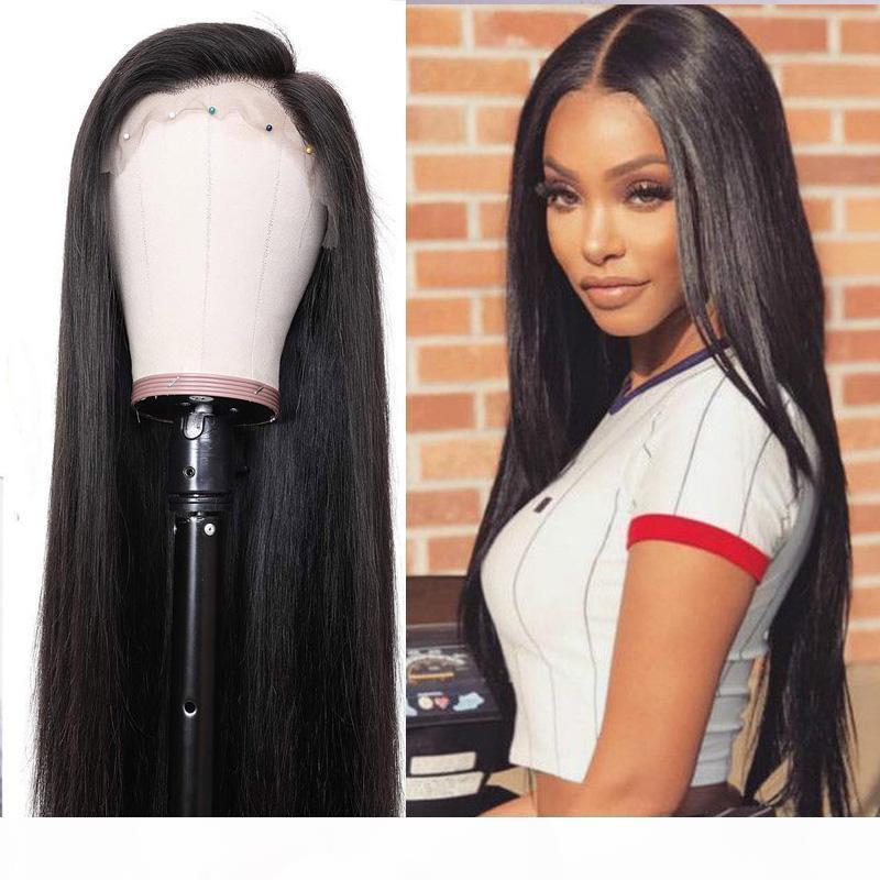 Barato 360 perucas de renda brasileira peruca de cabelo liso com cabelo bebê pré arrancado 130% ~ 180% densidade 100% cabelo humano não transformado para mulheres negras