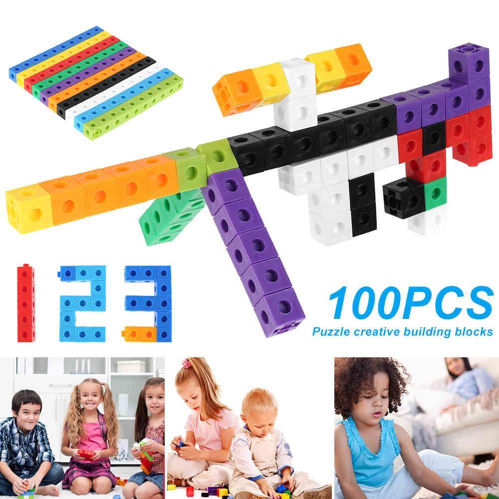 100 pcs brinquedos blocos manipulativos cubos de conexão snap precoce educação multilink brinquedos para construção matemática entrelaçamento aprendizagem 210329