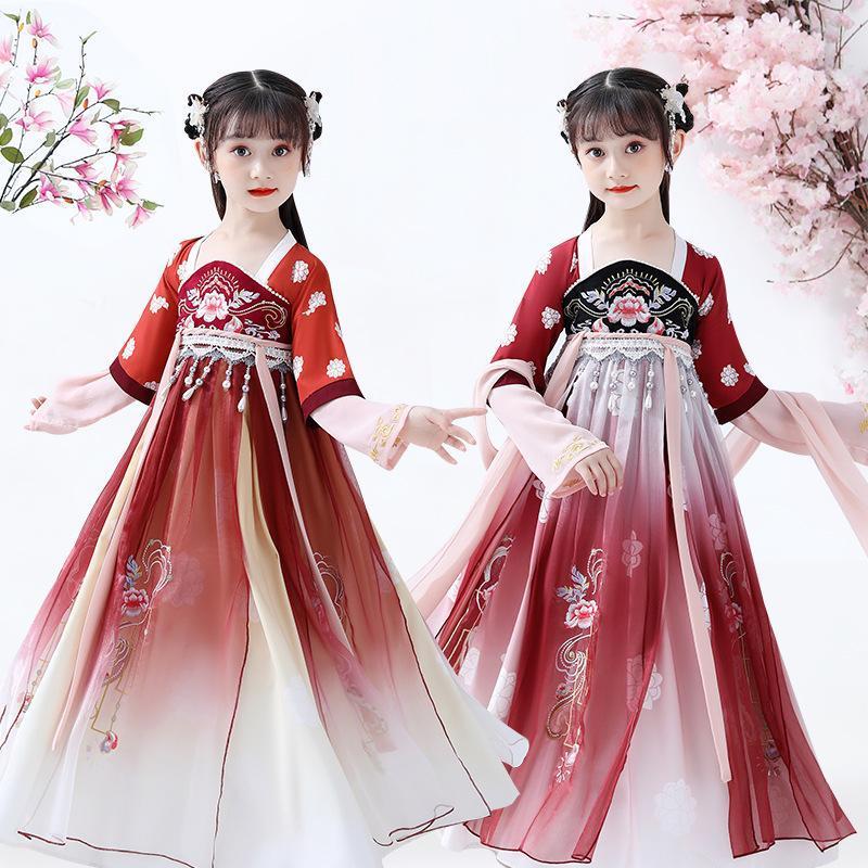 Girls Hanfu Costumi da ballo folk cinese antico cosplay tradizionale abito da palcoscenico abiti prestazioni costume costume etnico abbigliamento