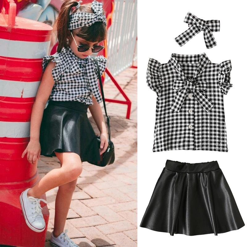 Varejo / Atacado Bebê Tracksuit Meninas Outfits Children 3 Pcs Set Camisa xadrez + Saia De Couro + Bow Headband Designers Roupas Kids Boutique roupas conjuntos