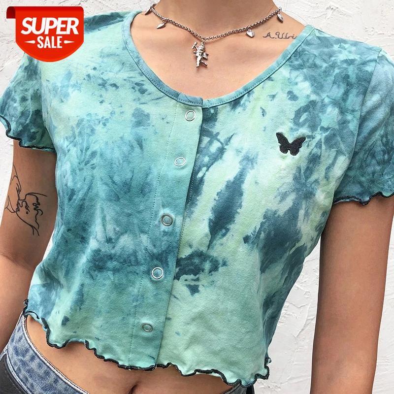 Mulheres Verão Colheita Tops Imprimir Tie Curto Manga Botões Slim Camiseta Moda Ruched Bordado Tee Club Club Casual Streetwear # RI8G