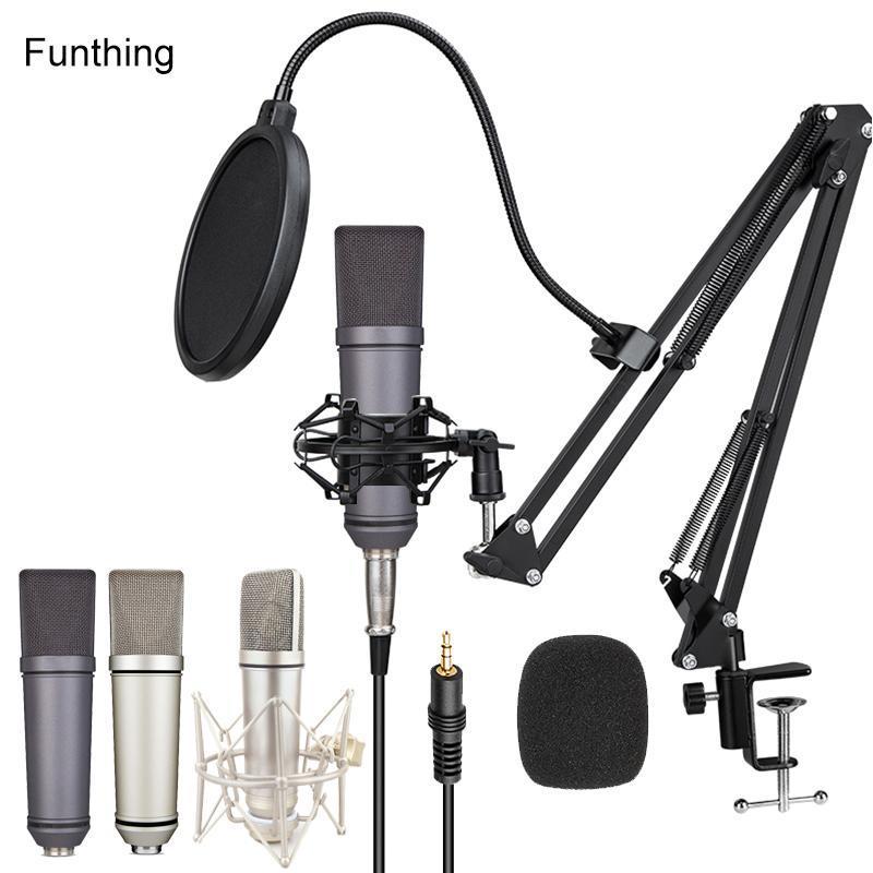 Funthing U87 Condensador Microfone para PC Telefone Grande Diafragma Vocal Gravação Karaoke Mic Microfones