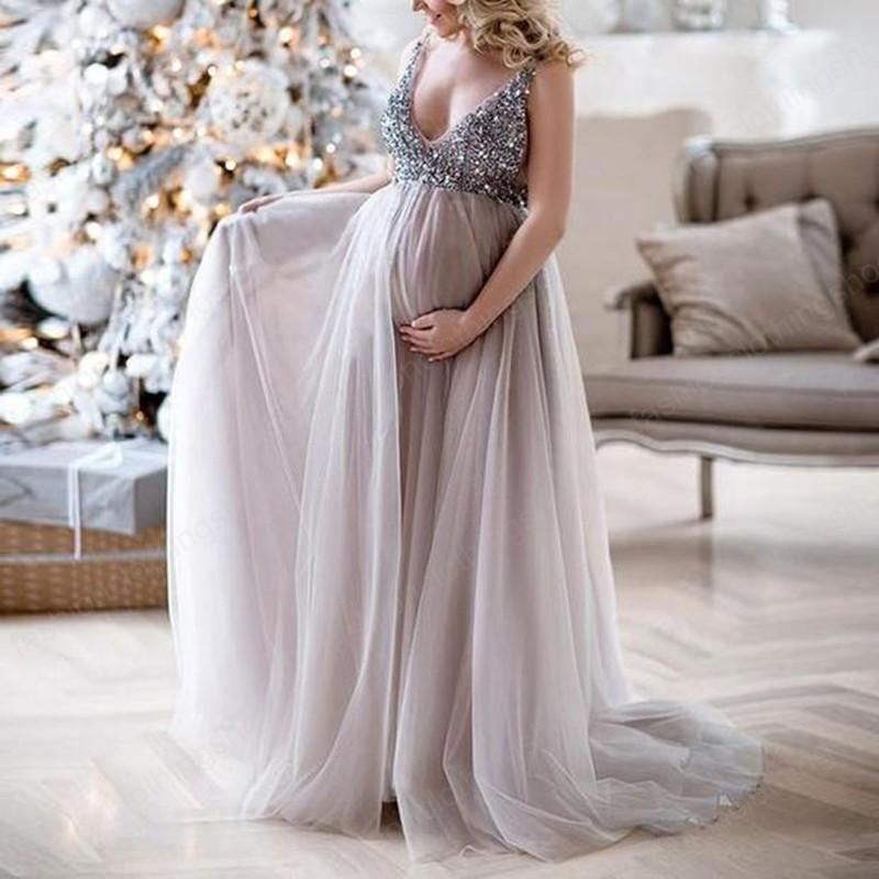 Maternity Dresses Women Pregnant Sling V Neck Sequin Cocktail Long Maxi Prom Gown Pregnancy Dress
