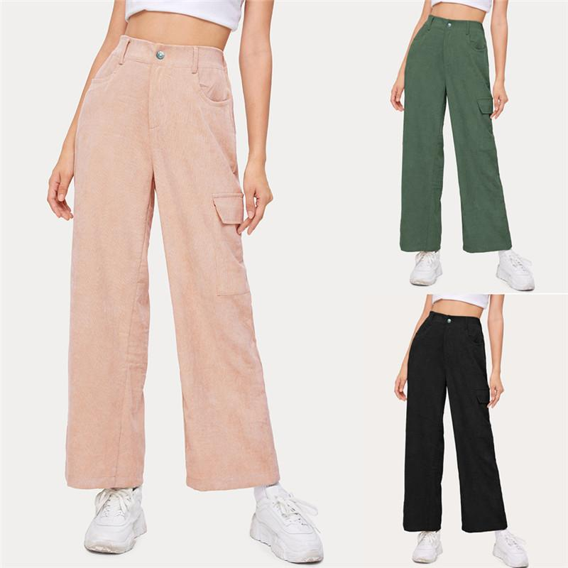 2021 High Quality Fashion Casual Loose Straight Wide Leg Pants Corduroy Factory Outlet