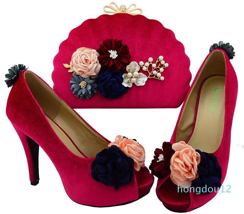 아름 다운 자홍색 여성 펌프 꽃 장식 아프리카 신발 일치 핸드백 세트 Lady Dressing BL002 발 뒤꿈치 11cm
