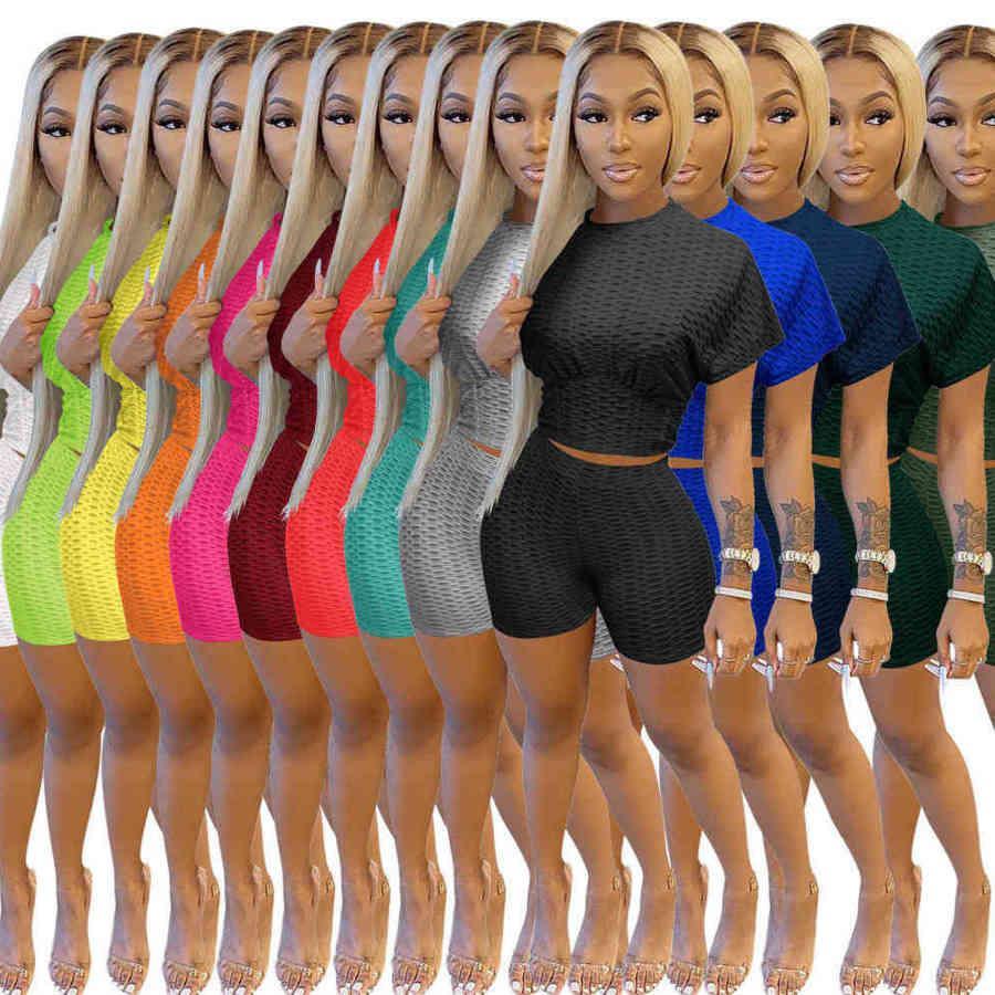 Summer Designer Women Two Piece Pants Short Set Outfits Fashion Solid Color Tracksuits Waist Jacquard Short Sleeve Shorts Suit Plus Size