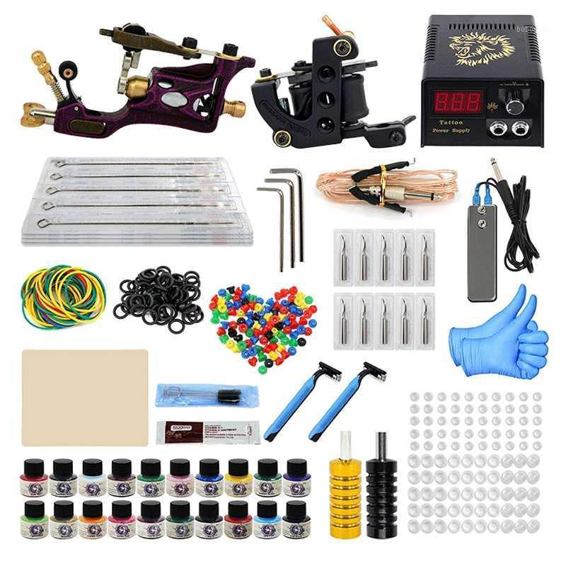Tattoo Machine Kit Professional Complete 10 Coil 2 Tatoo Guns Power Supply Ink Needle Tip Grip Set For Tatto Artists Top Quality1