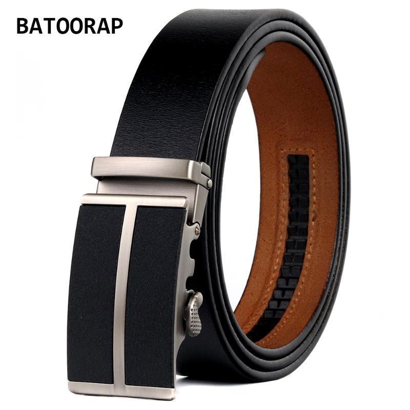 Courroies Batoorap Boucle de concepteur pour hommes Boucle en métal Automatique Black Retro Cowhide Sangle de taille pour le pantalon Jean