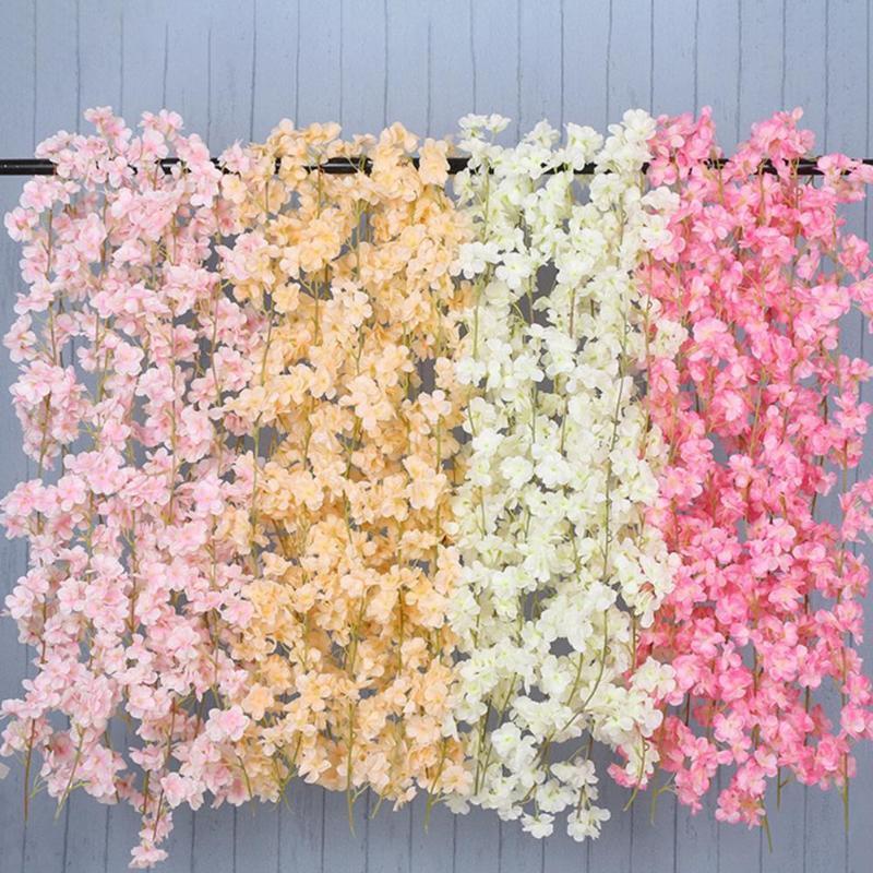 زهر الكرز الاصطناعي الحفظ الطازج 135 زهرة رئيس فو الحرير الجدار شنقا روز كرمة لحضور الزفاف الزخرفية الزهور