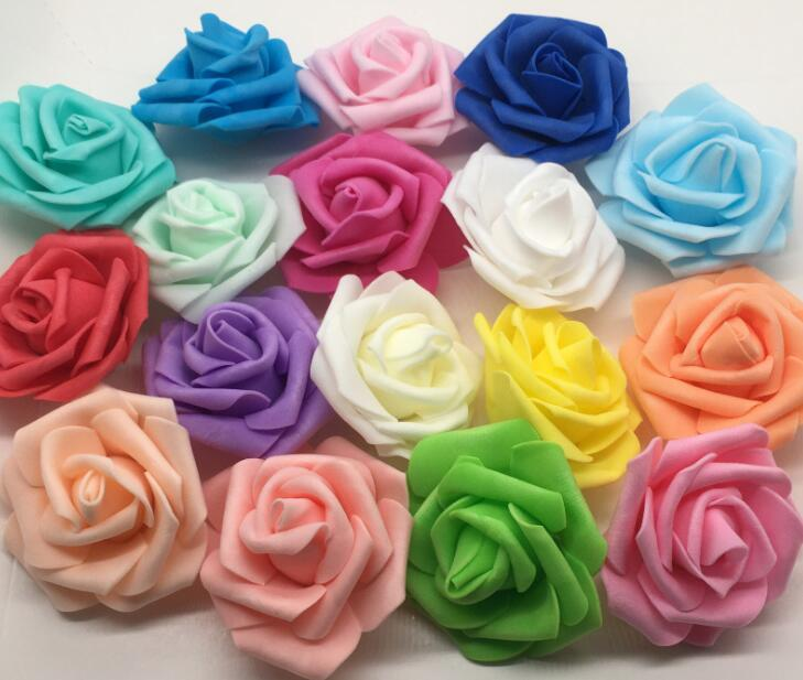 "Pe rose 6.5cm/2.56"" Foam Artificial Rose Camellia Flower Heads Wedding Christmas Party Decoration"
