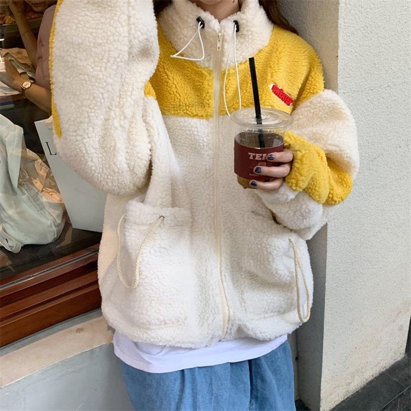 Moletons de Moletons Cashmere Splicing Casaco de Manga Longa Plus Manter Bolso Quente Drawstring Solto Casual Tops Pull Femme