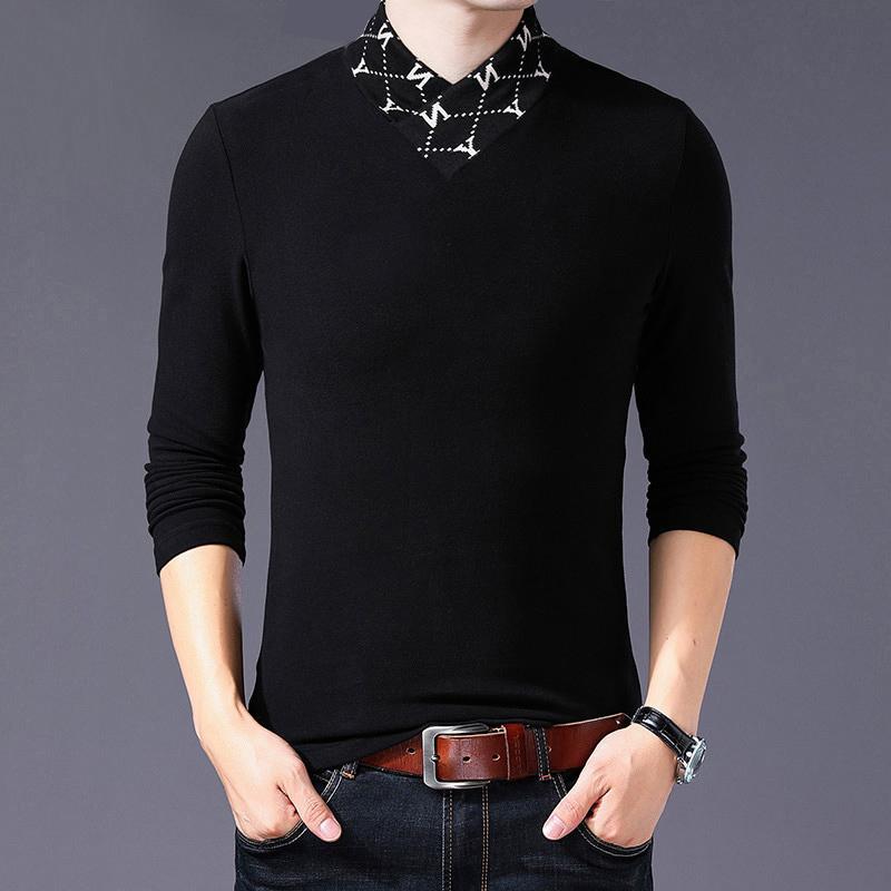 Browon primavera y otoño nuevo algodón hombres ropa de manga larga solapa camiseta bordada camiseta casual letras hombres camiseta de gran tamaño 210317
