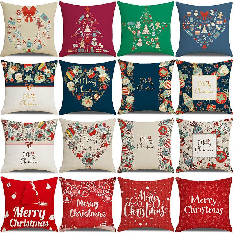 20 colori Cuscino decorativo Coprisedi per natale Halloween Cuscini di lino 45 * 45cm personalizzato santa stampato cuscino cuscino cuscino cuscino tessili senza interni