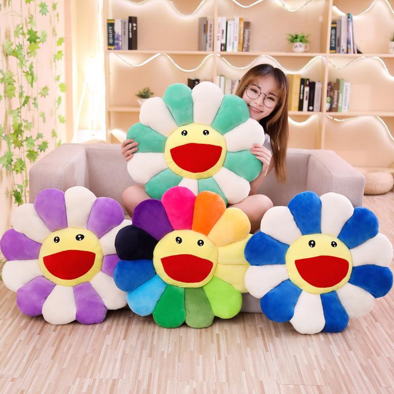 2021 Süße Murakami Takashi Sonnenblume Plüsch Kissen Spielzeug Weiche Kissen Sofa Puppe 43cm 55 cm große größe