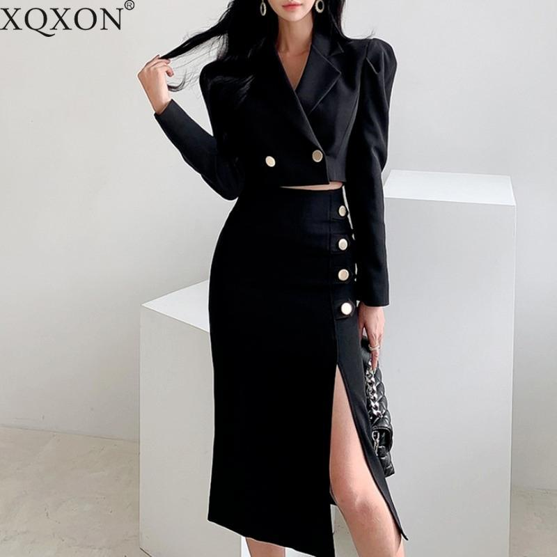Spring Office Lady Black Cropped Blazer Suit&mid-length Skirt Two Piece Set Women Suits Sets Dress