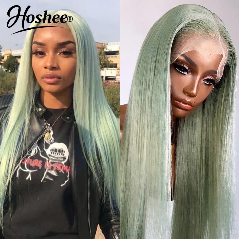 Mode-Stil Grüne / Rosa / Blau Keine Spitzenfront-Perücke 13x4 transparente synthetische Perücken vorgeptet 18-30 inch Brasilianer gerade menschliches Haar