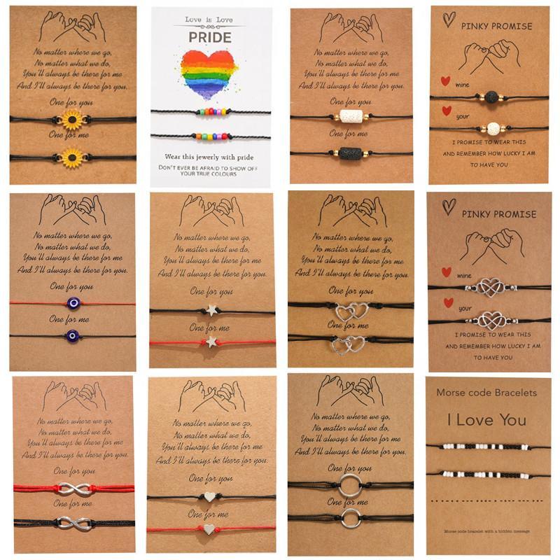 2 قطعة / المجموعة سحر سوار لصداقة الأزواج لانهائي الحب الخرز أساور المرأة رجل محظوظ رغبة بطاقة مجوهرات هدية