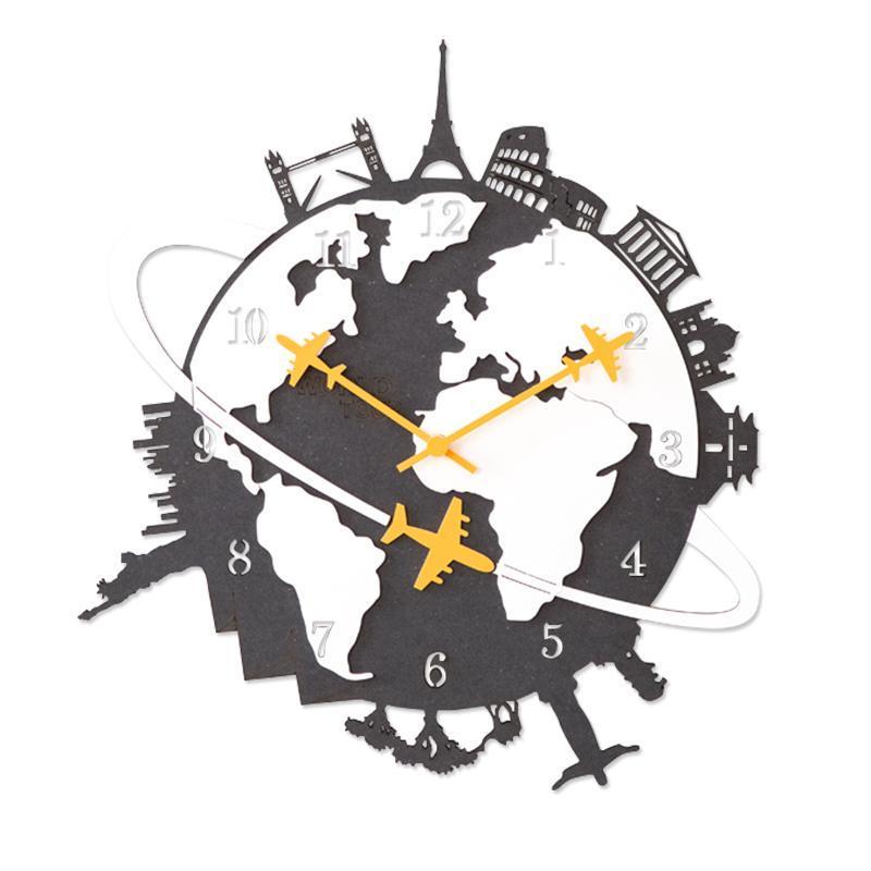 Duvar Saatleri Büyük Saat Ahşap Nordic Modern Oturma Odası Yaratıcı Amerikan Kişilik Asılı Sesle Sessiz Horloge Murale SC479