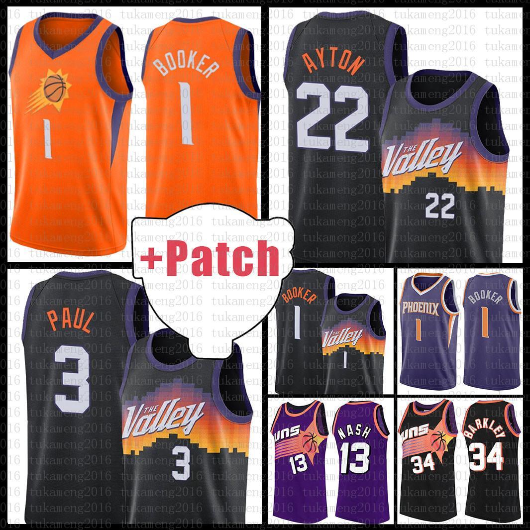 Suns Basketball Jersey Devin 1 Booker 2021 New Chris 3 Paul Mens Deandre 22 Ayton Malha Retro Steve 13 Nash Charles 34 Barkley Cheap Gradiente Gray