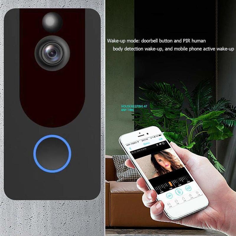 V7 WiFi Soignée sans fil 720p 1080P Smart IP Vidéo Interphone Security Caméra de la porte de la porte de la porte de la porte de la porte de la porte de la télécommande de la télécommande
