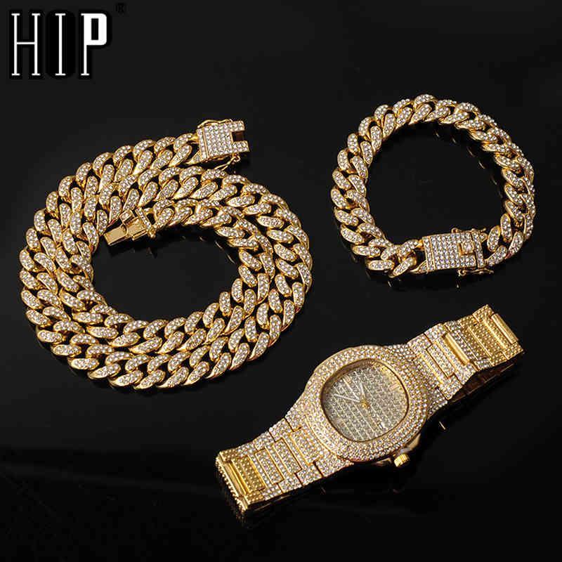 13mm 3 Adet Kolye + İzle + Bilezik Hip Hop Miami Curb Küba Zincir Altın Tam Buzlu Out Asfed Rhinestones CZ Bling Erkekler Takı Için