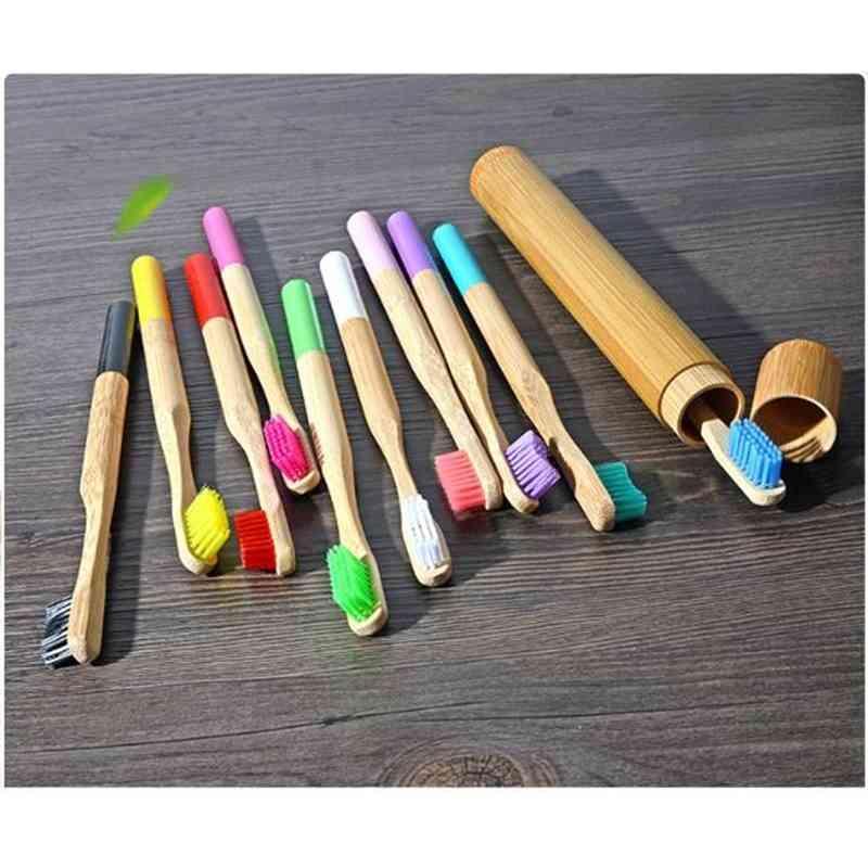 17 colores Cepillo de dientes de bambú Conjunto con tubo de bambú Cerdo suave Cepillo de dientes Cepillos de dientes Patrón de cepillos de dientes para el blanqueamiento de higiene oral adulto