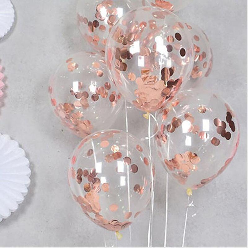حزب الديكور 10 قطعة / المجموعة بالون الزفاف الترتر بالون روز الذهب اللاتكس بالونات شفافة عيد ميلاد babyshower globos