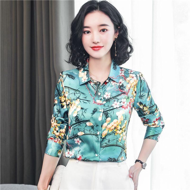 Vintage Çiçek Pist Ipek Gömlek Kadın Moda Tasarımcısı Baskılı Bluzlar Zarif Uzun Kollu Ofis Bayanlar Düğme Gömlek Ince İlkbahar Sonbahar Lüks Tops Toptan