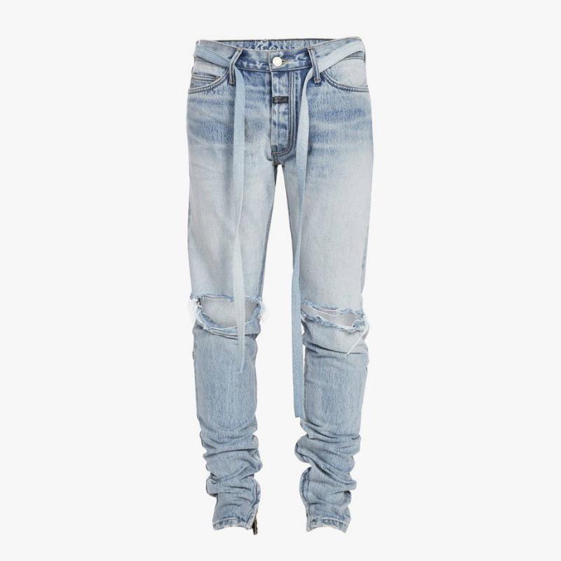 Alta calidad Justin Bieber Vintage Indigo Slim Jeans Jeans Belted Biker Parche de goma en la cintura