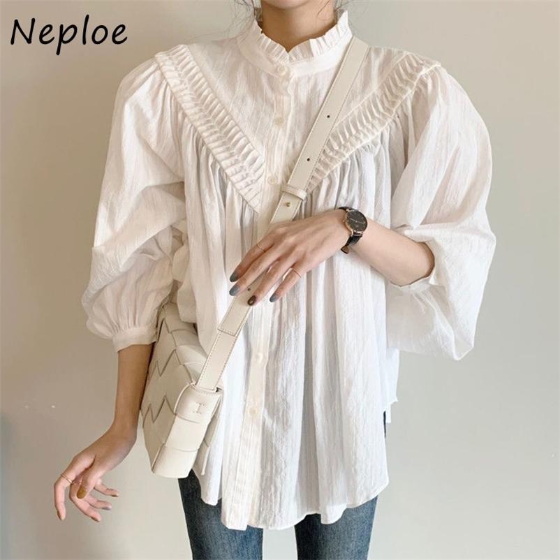Neploe Mantar Standı Yaka Pileli Patchwork Kadın Bluz Tek Göğüslü Fener Kol Gömlek Katı Renk Chic Femme Blusas 210323