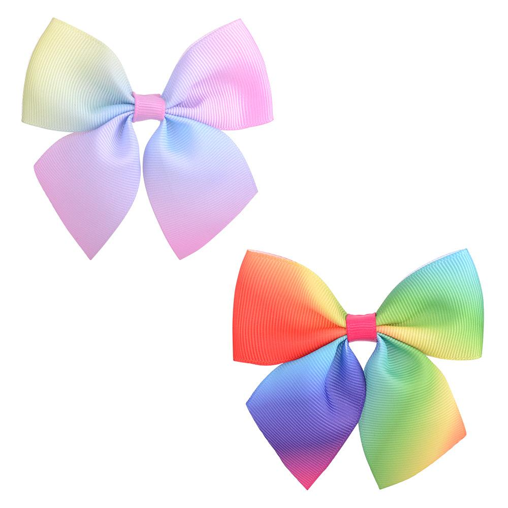 Girls Kids Bowknot Hairpins Rainbow Grosgrain Ribbon Bows With Alligator Clips Childrens Hair Accessories Baby Boutique Bubble Bow Barrette KFJ344