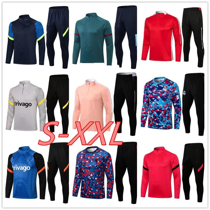2021 Erkekler Jogging Takım Elbise Futbol Eğitim Eşofman Kiti 2020 2021 Yetişkin Erkek Survetement Ayak Futbol Chandal Futbol Survêtement