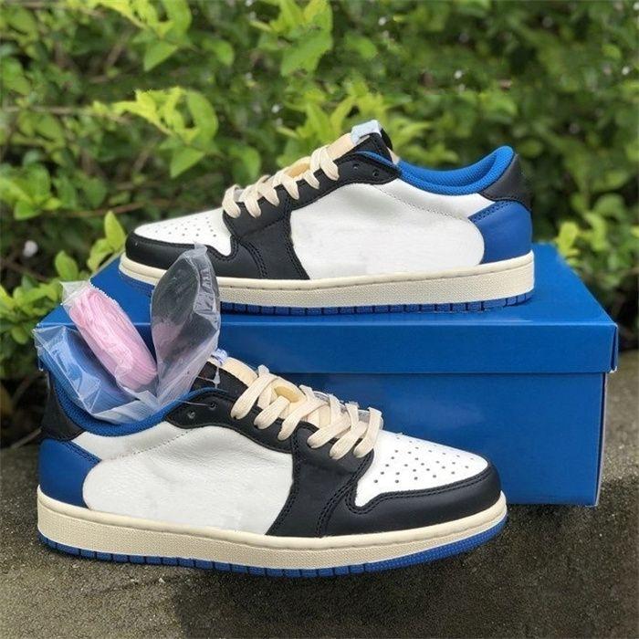 Frammenti x TS x 1 Low OG SP militare blu scarpe da uomo bianco blu sport casual sneaker allenatore scarpa da donna