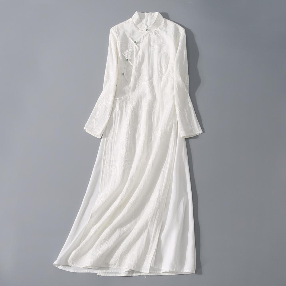 Estate must-habishanmo yunxi primavera e vestito Collo verticale di colore puro Imitates a mano in lino con jacquard ricamato a mano grande gonna altalena