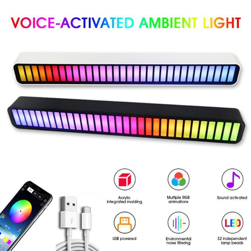 Gece Işıkları Pikap Ritim Işık USB LED Şerit Ses Kontrolü Müzik Atmosfer RGB Renkli Tüp Araba Ortam