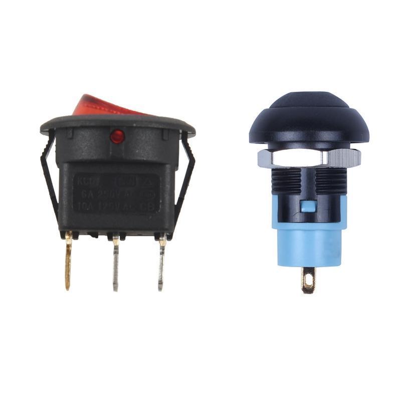 스마트 홈 컨트롤 토글 스위치 바이폴라 켜기 끄기 빨간색 3 핀 20mm On-Off Latching 방수 12mm 푸시 버튼 SPST 2A IP67, 블랙