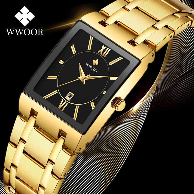 Reloj Hombre Wwoor Square Uhren für Männer Top Luxus Gold Business Quarz Herrenuhr Wasserdichte Edelstahl Armbanduhr 210603