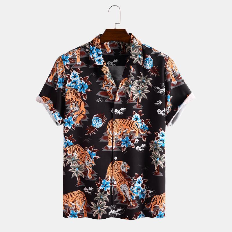 Camisas casuales de los hombres para hombre de flores hawaiano Tigre impreso camisa 2021 Moda Top Diseñador Hombres Manga corta transpirable