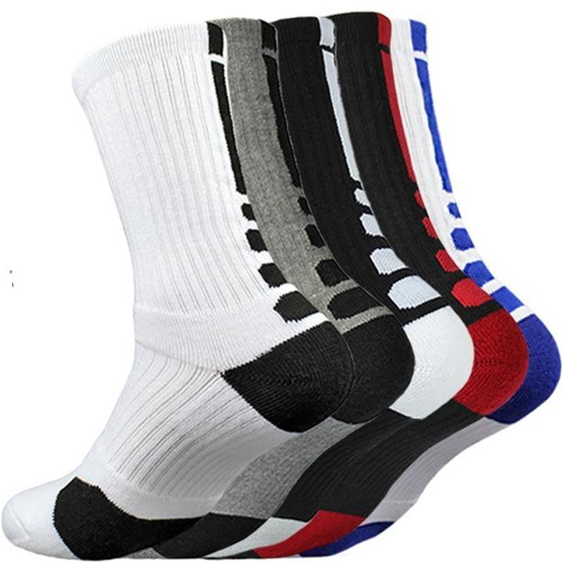 Men's Socks 5 Pairs Men Sports With Damping Basketball Cycling Running Hiking Tennis Sock Set Ski Women Cotton EU 39-45