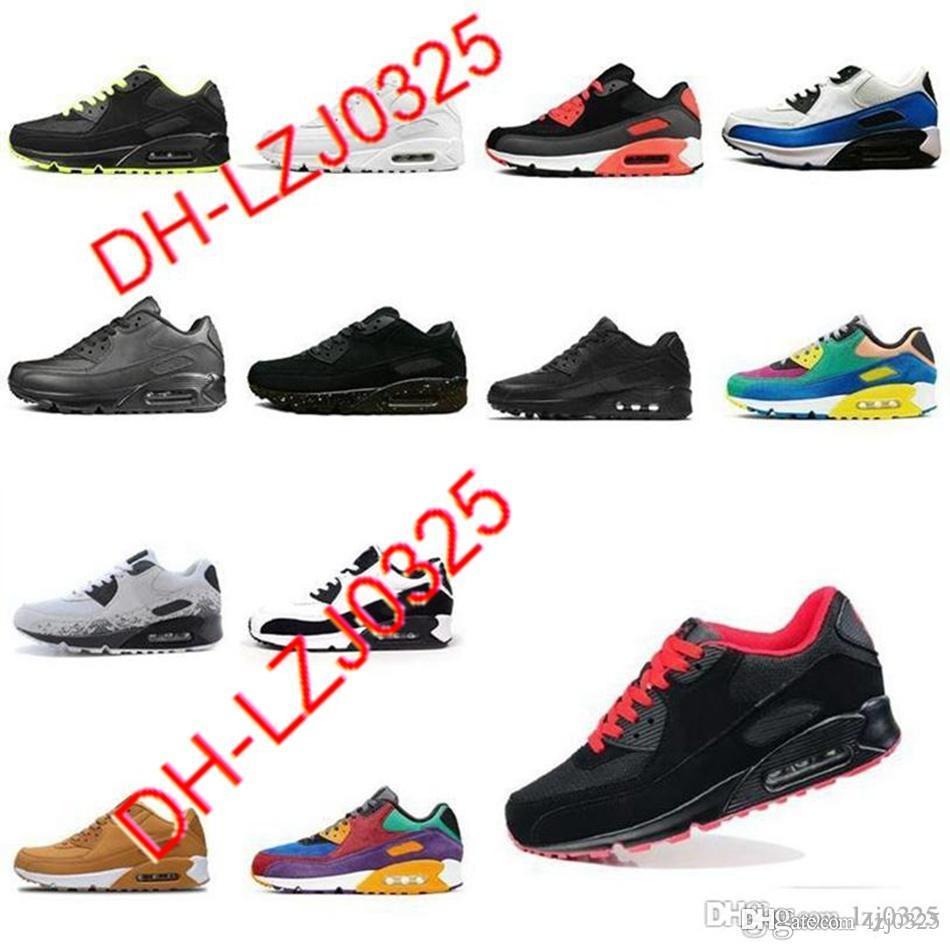 90 Botas zapatillas para correr hombres Todos Negros Blanco Classic Transpirable Sports Sports Airs al aire libre Sneakers 36-45 DH-X86 ABN145