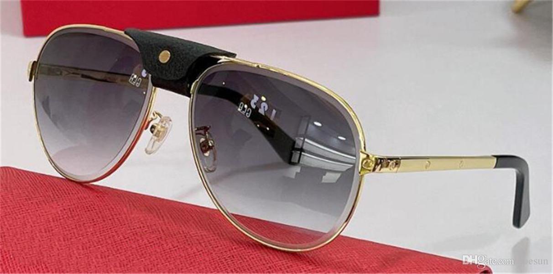 النظارات الشمسية تصميم الأزياء 01138 الطيار إطار معدني شعاع وسط مع جلدية مشبك بسيط ونمط البوب أعلى جودة uv400 نظارات واقية