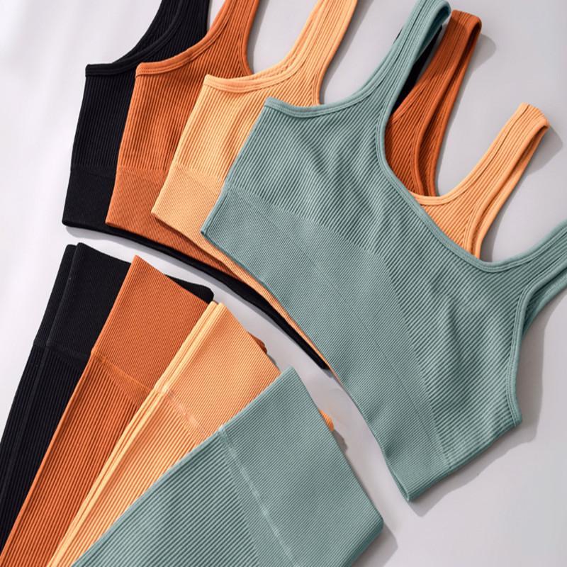 Womens Trainingsanzüge Fitness Zweiteiler Set 2 Trainingskleidung Leggings Sport BH Lange Hose Backless Übung Kleidung Bodybuilding Slim Anzüge