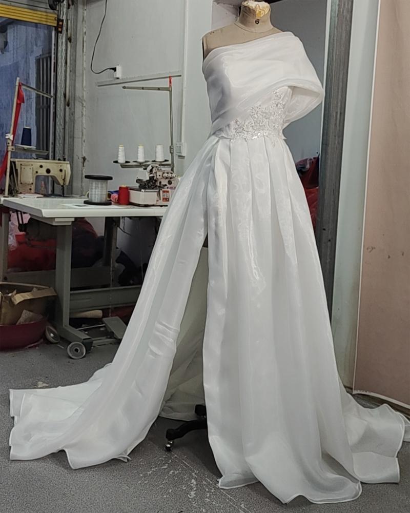 Реальные картинки одно плечо белые органзы свадебные платья кружевные аппликации бисероплетение невесты платье боковой сплит с большим бантом на спине сексуальное свадебное платье 2021 Vestidos Blancos