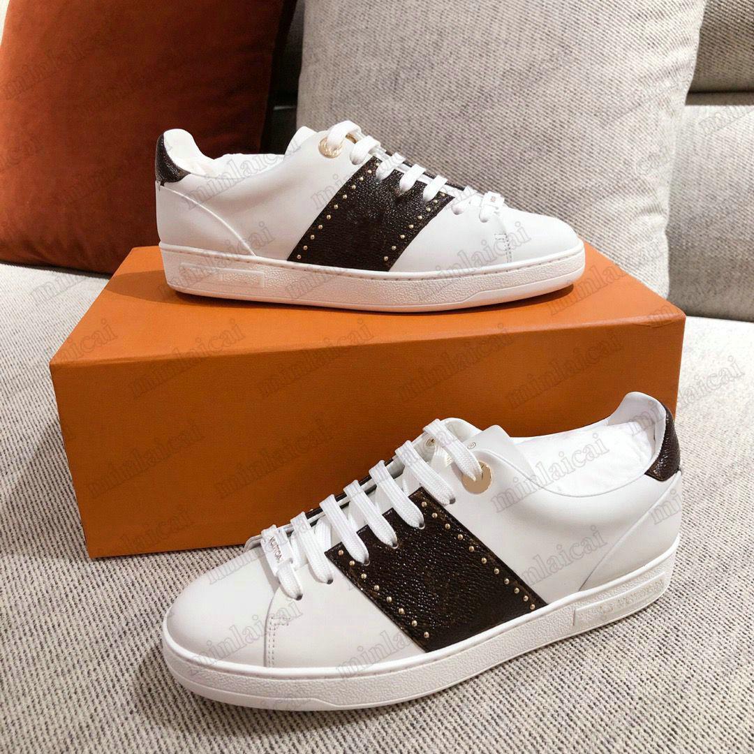 FrontTrow Sneaker Designer White Calf Leder Shoe Patent Monogramme Leinwand Braune Blume Gummi Mens Runner Trainer Womens Platform Klassische Freizeitschuhe