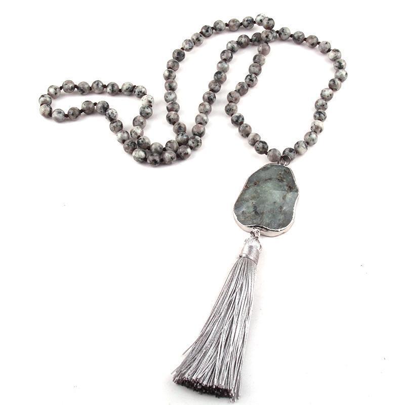 Moodpc Fashion Bohemian Jewelry Jewelry Grigio Pietra annodato Collane nappe in nappa per le donne