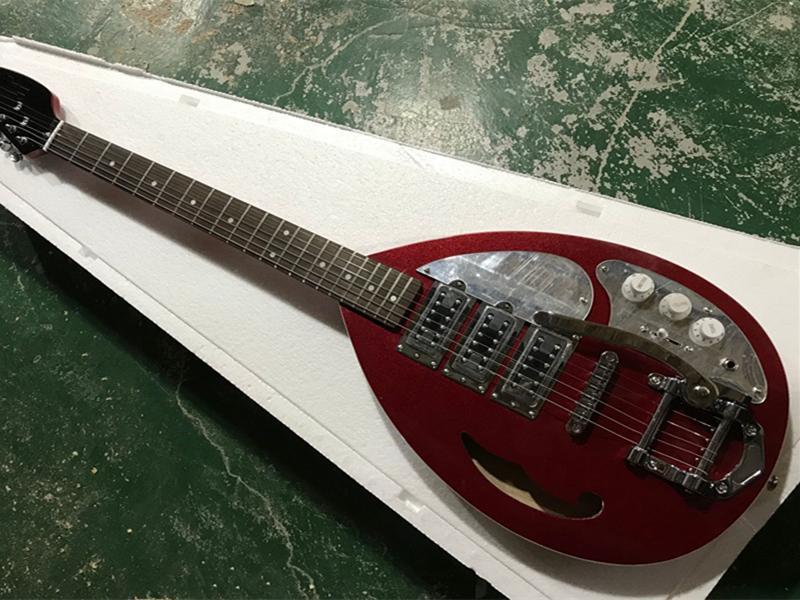 Fabrika özel kırmızı vücut elektro gitar ayna pickguard, gülağacı klavye, krom donanım, özelleştirilmiş servis sağlamak