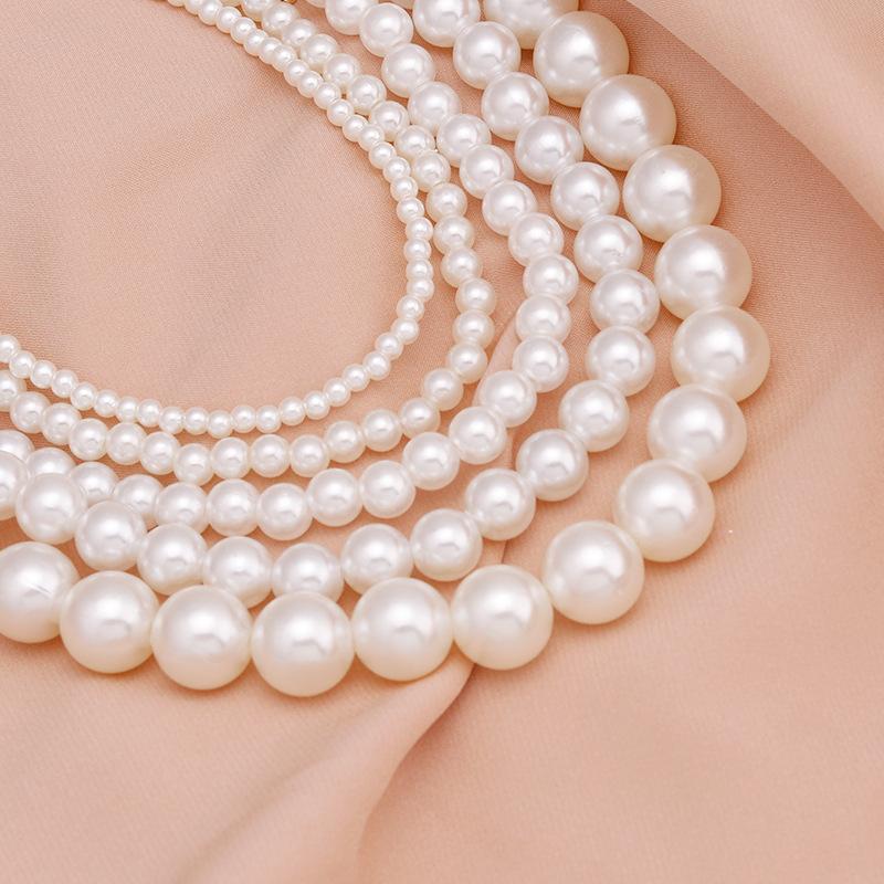 20pc Elegant White Imitation Pearl Choker Necklace Big Round Pearl Wedding Necklace for Women Charm Fashion Jewelry 551 Q2