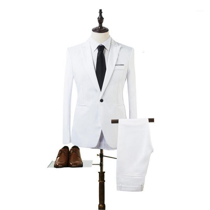 2020 새로운 2 조각 비즈니스 블레이저 + 바지 정장 세트 남자 가을 패션 단단한 슬림 결혼식 세트 빈티지 클래식 블레이저 슈트 1