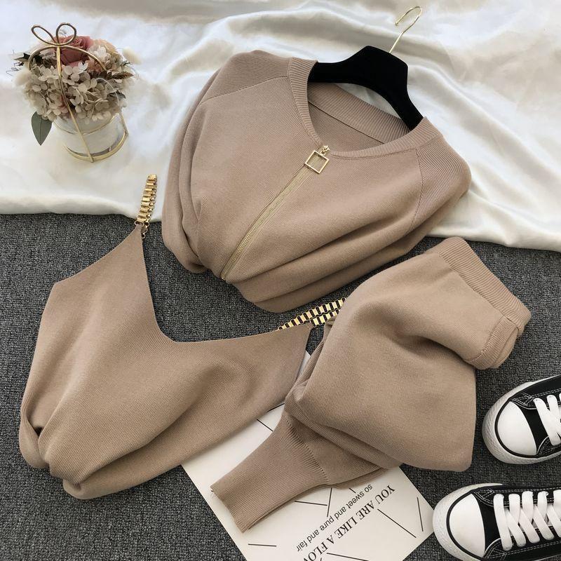 Mulheres 2021 primavera outono inverno colete de tricotadas zíper Cardigans calças 3 pcs conjuntos tracksuits outfits mulheres duas peças